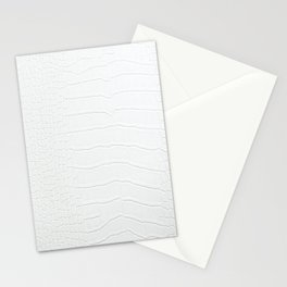 White Crocodile Realistic Skin Print Stationery Cards