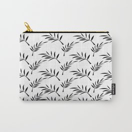 White and Black Leaf Design Carry-All Pouch