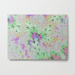 pastel flowers, abstract designs, spring colors, mint green, lilac, pink, white Metal Print