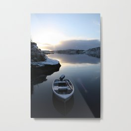 Norwegian Nature -Boat & Snow I Metal Print