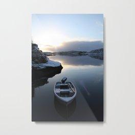 Norwegian Nature -Boat & Snow I Metal Print