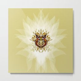 Staring Owl - Creative Tribal Style Mirror Graphic of Bird Metal Print