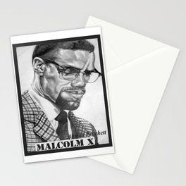 Print of free hand graphite pencil drawing of Malcolm X Stationery Cards