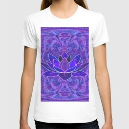 Blue and Purple Lotus Floral Tribal Print T-shirt
