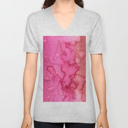 Pink red abstract modern hand painted watercolor pattern Unisex V-Neck
