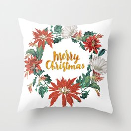 Red Green Gold Poinsettia Cactus Flower Cristmas Wreath Throw Pillow