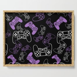 Video Games Lavender on Black Serving Tray