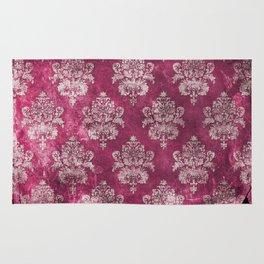 Old shabby vintage damask pink purple pattern Rug
