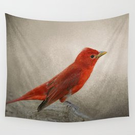 Song of the Summer Tanager 2 - Birds Wall Tapestry