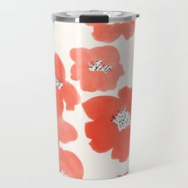 Camellia Flowers in Red Travel Mug