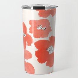Camellia Flowers in Red Travel Mug