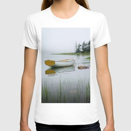 White Maine Boat on a Foggy Morning T-shirt