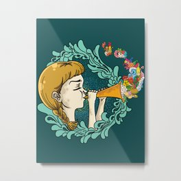 Girl with Trumpet Metal Print
