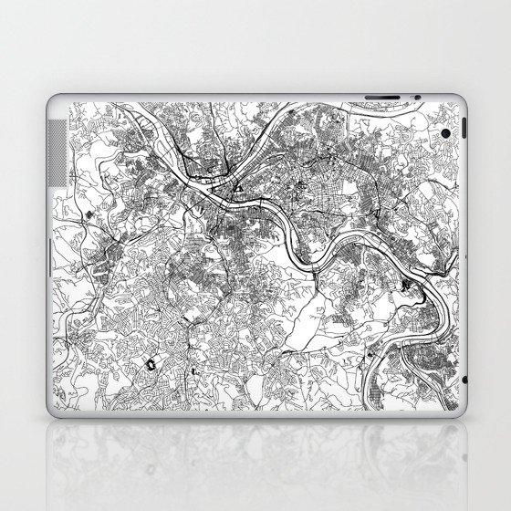 Pittsburgh White Map Laptop & iPad Skin