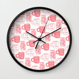 Abstract coral white tea cups modern typography Wall Clock