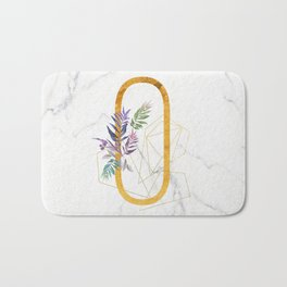 Modern glamorous personalized gold initial letter O, Custom initial name monogram gold alphabet prin Bath Mat