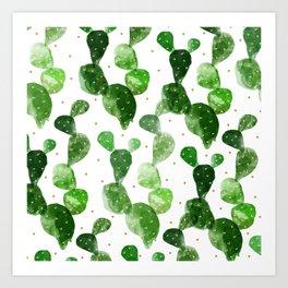 cactus watercolor pattern Art Print
