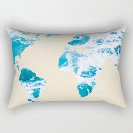 Ocean World Map Sea and Sand Rectangular Pillow