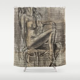 Iris - Sheet music Art Shower Curtain