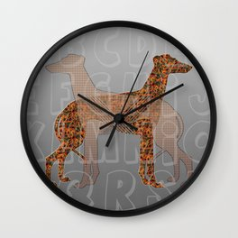 Dogs and alphabet pattern Wall Clock