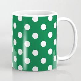 Polka Dots (White & Dark Green Pattern) Coffee Mug