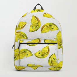 Lemon Slices Pattern White Backpack