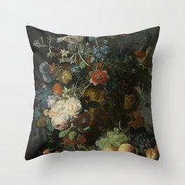 Jan van Huysum - Still life with flowers and fruits (1721) Throw Pillow