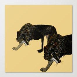 Black wolf totem Canvas Print