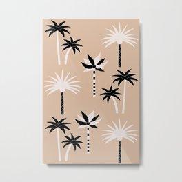 Palm Trees - Neutral Black & White Metal Print