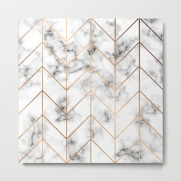 WHITE MARBLE WITH GOLD GEOMETRIC LINES I Metal Print