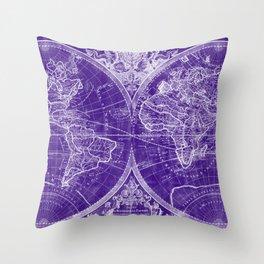 World Map (1691) Purple & White Throw Pillow