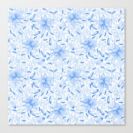 FLOWERS, PETALS AND HEARTS - BLUE Canvas Print