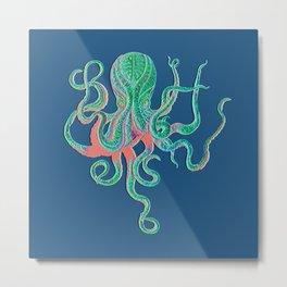 Octopus Fluo Metal Print