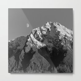 Moon Over Pioneer Peak B&W Metal Print