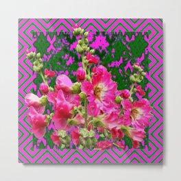 Decorative Fuchsia & Green Hollyhocks Garden Pattern Art Metal Print