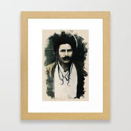 Young Faces from the past Series by Asar Studios, Kurdish man with traditional plaited hair Framed Art Print