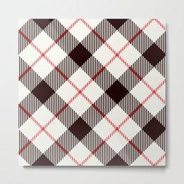 White Tartan with Diagonal Black and Red Stripes Metal Print