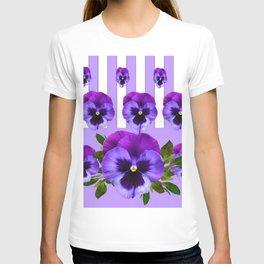 MODERN LILAC & PURPLE PANSY FLOWERS ART T-shirt
