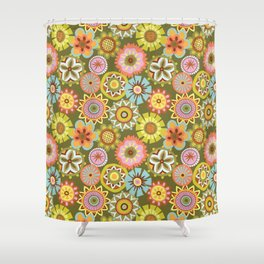 "Button Flowers-""Believe"" Colorway Shower Curtain"