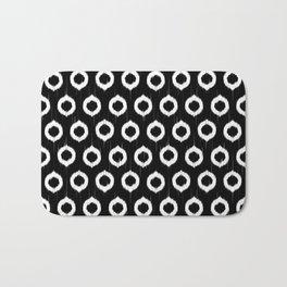 Black and white ikat circles Bath Mat