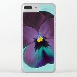 Purple viola tricolor Clear iPhone Case