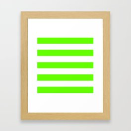 Green slime - solid color - white stripes pattern Framed Art Print