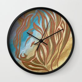 Copper & Old Gold Abstract Mare Wall Clock