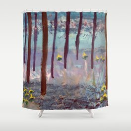 Beauty in the woods - Painting by young artist with Down syndrome Shower Curtain