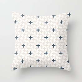 Cross Stitch, Navy Blue Throw Pillow
