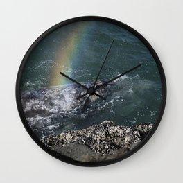 Grey Whale Spouting Rainbows Along The Rocks Wall Clock