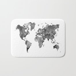 World map in watercolor gray Bath Mat