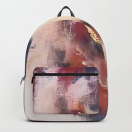 Entranced: a minimal abstract piece in pink, red, purple, and gold Backpack