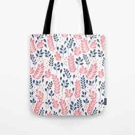 Wistful Floral - Coral and blue Tote Bag