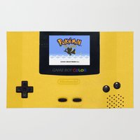 gameboy Area & Throw Rugs featuring The Yellow Gameboy by bimorecreative